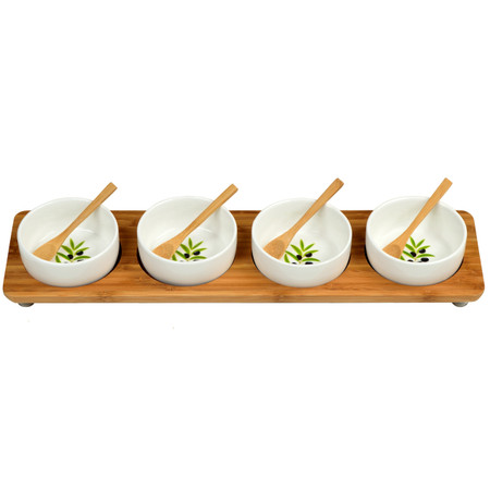 In Line Bamboo Serving Board w/ 4 Olive Motif Ceramic Serving Bowls