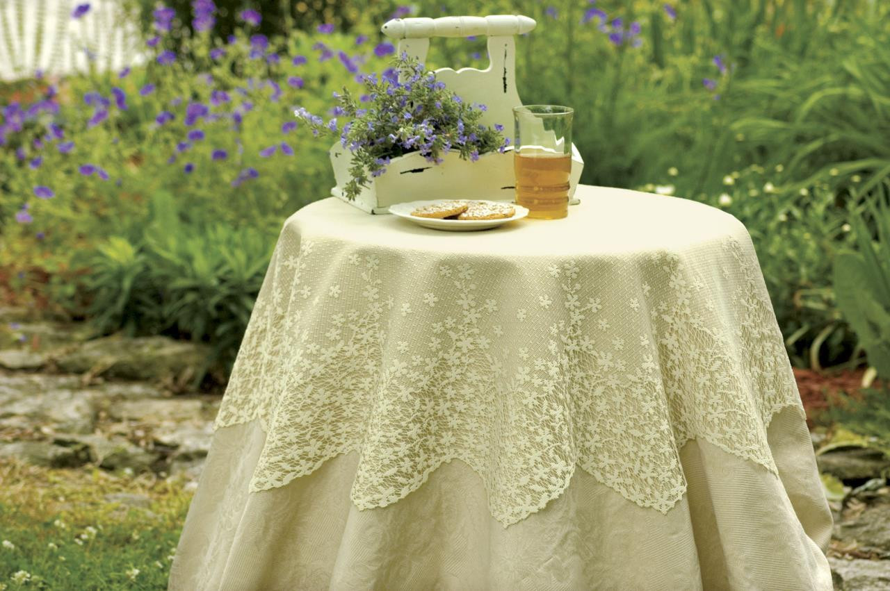 "Blossom Lace 42"" Round Tablecloth - 734573098392"