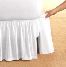 Detachable Solid White Gathered Bed Skirt -