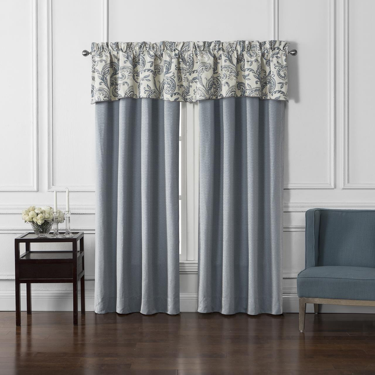 Florence Chambray Blue Curtains - 038992921737