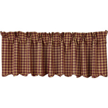 Burgundy Farmhouse Check Valance - 841985081284