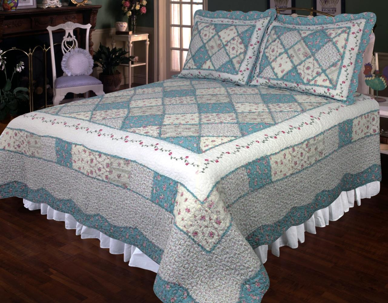 Ashley Blue Quilt By Elegant Decor Paul S Home Fashions