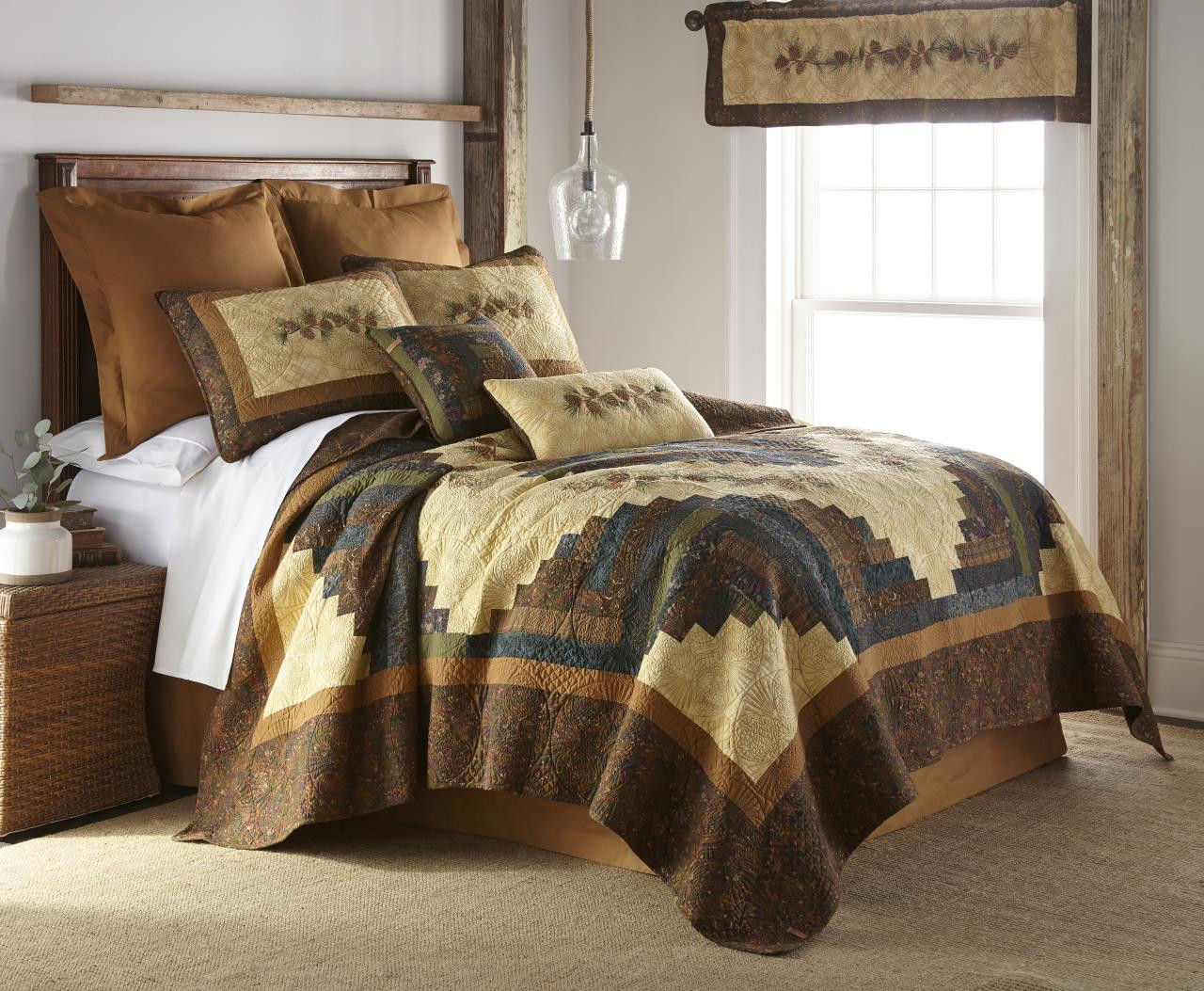 Cabin Raising Pine Cone Quilt Collection -