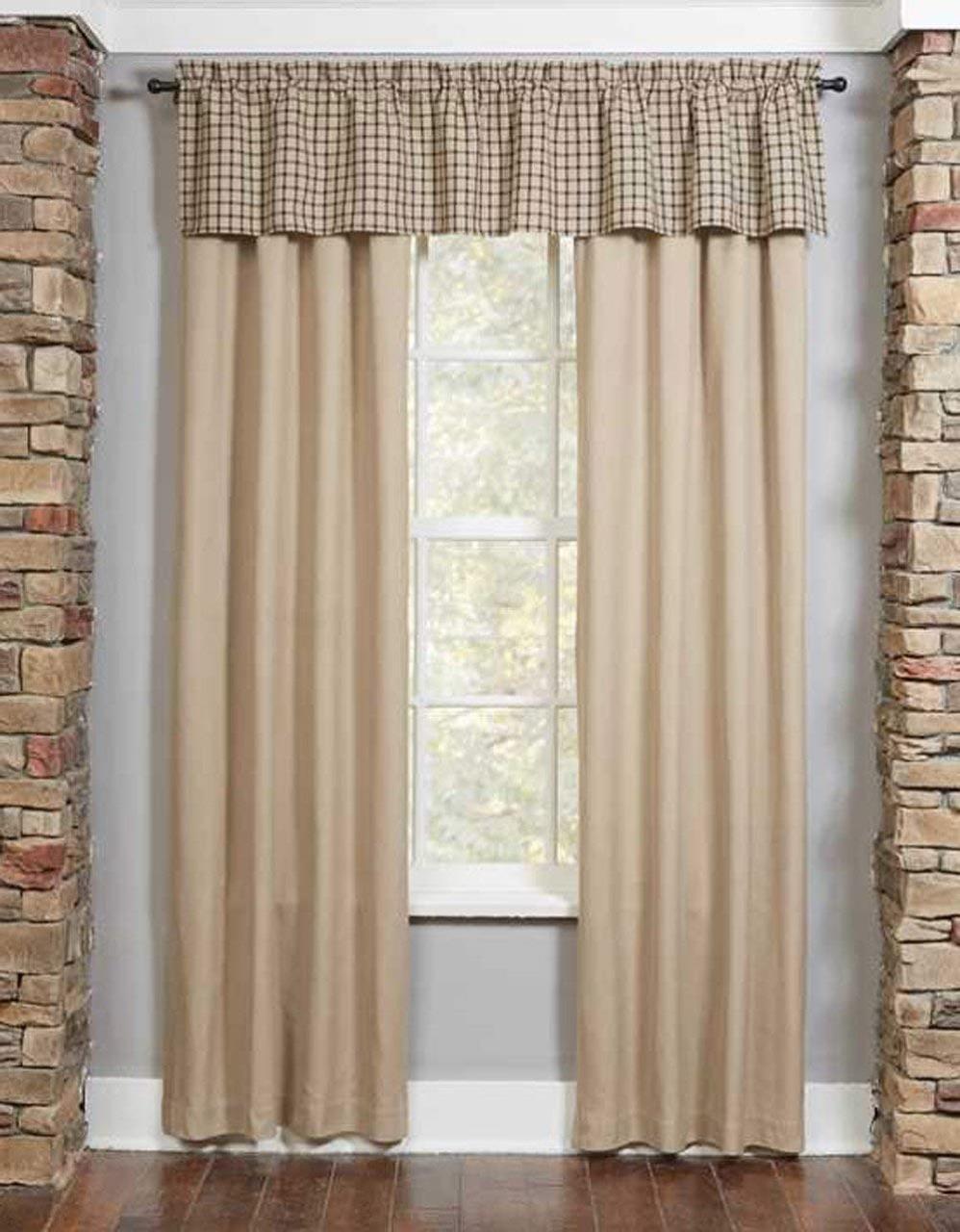 Farmington Oatmeal Check Curtain & Valances - 608614380060
