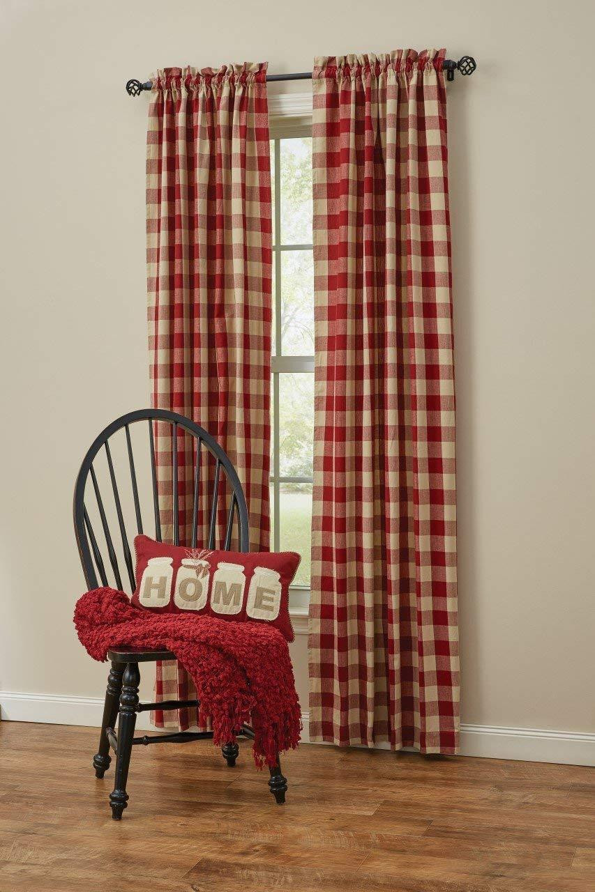 Wicklow Garnet & White Curtain Collection -