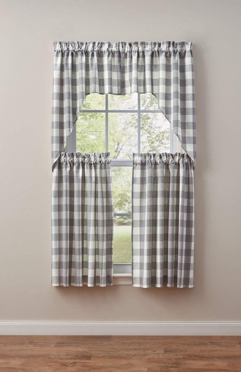 Wicklow Gray & White Curtain Collection -