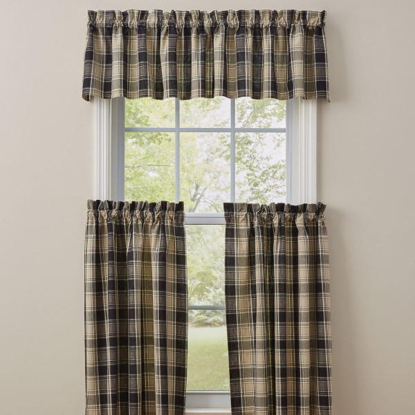 Soapstone Black & Tan Plaid Curtain Collection -