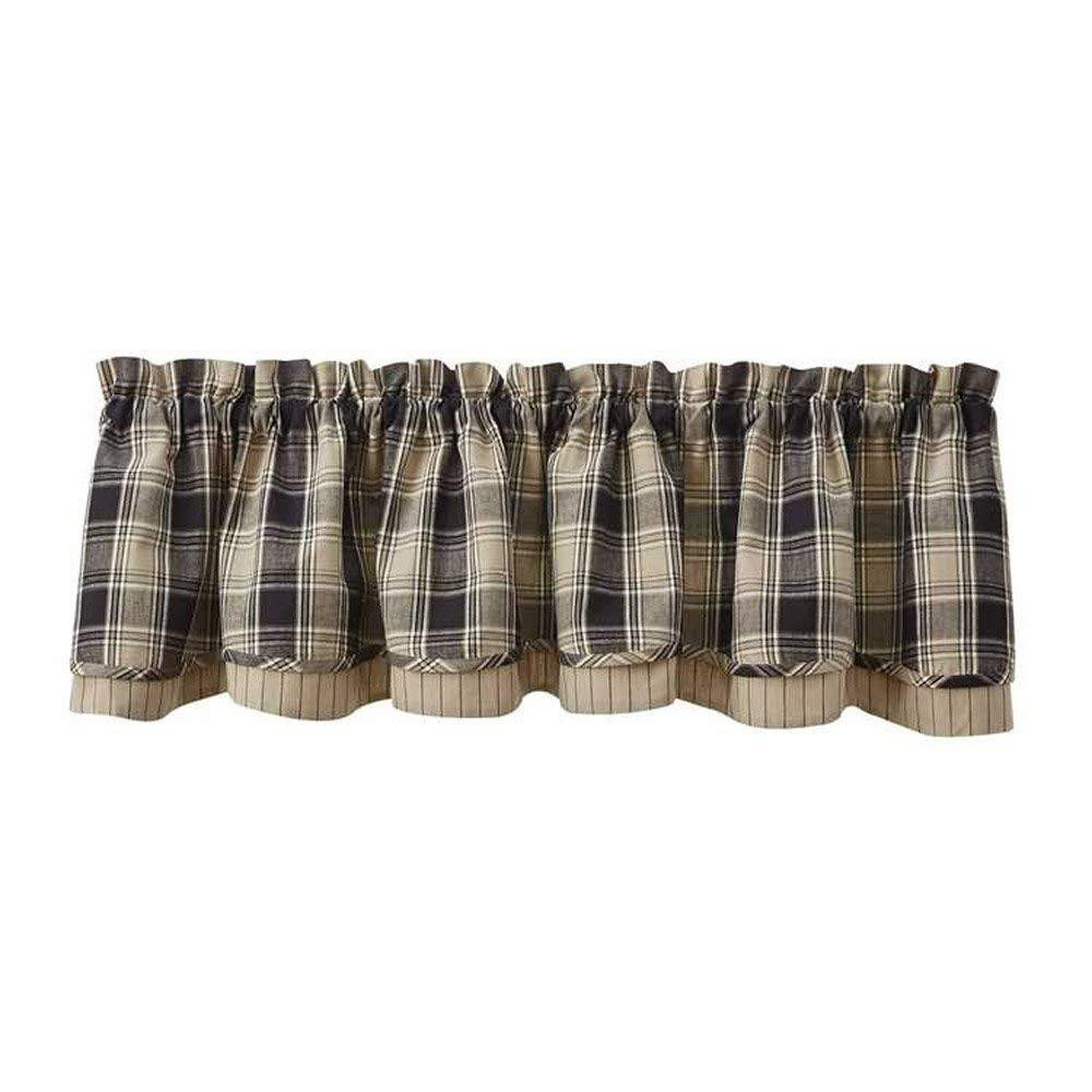 Soapstone Black & Tan Plaid Curtain Collection -