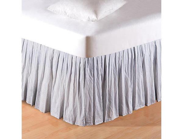 Blue Ticking Bed Skirt - 008246226819