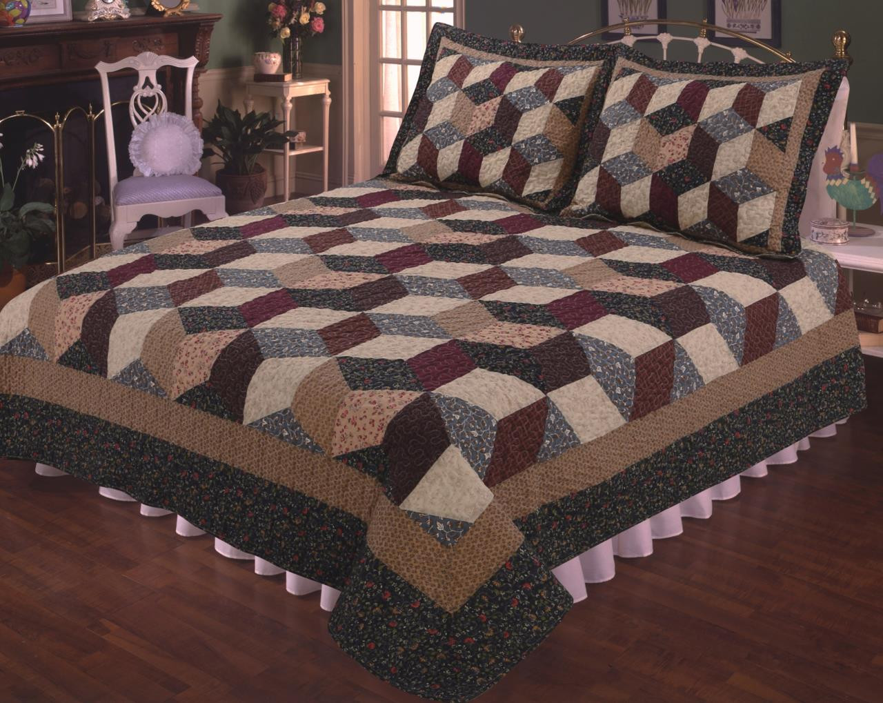 Tumbling Block Quilt By Elegant Decor Paul S Home Fashions