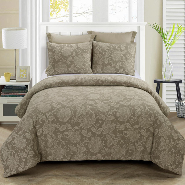 Amadora Taupe Comforter Set - 754069006441