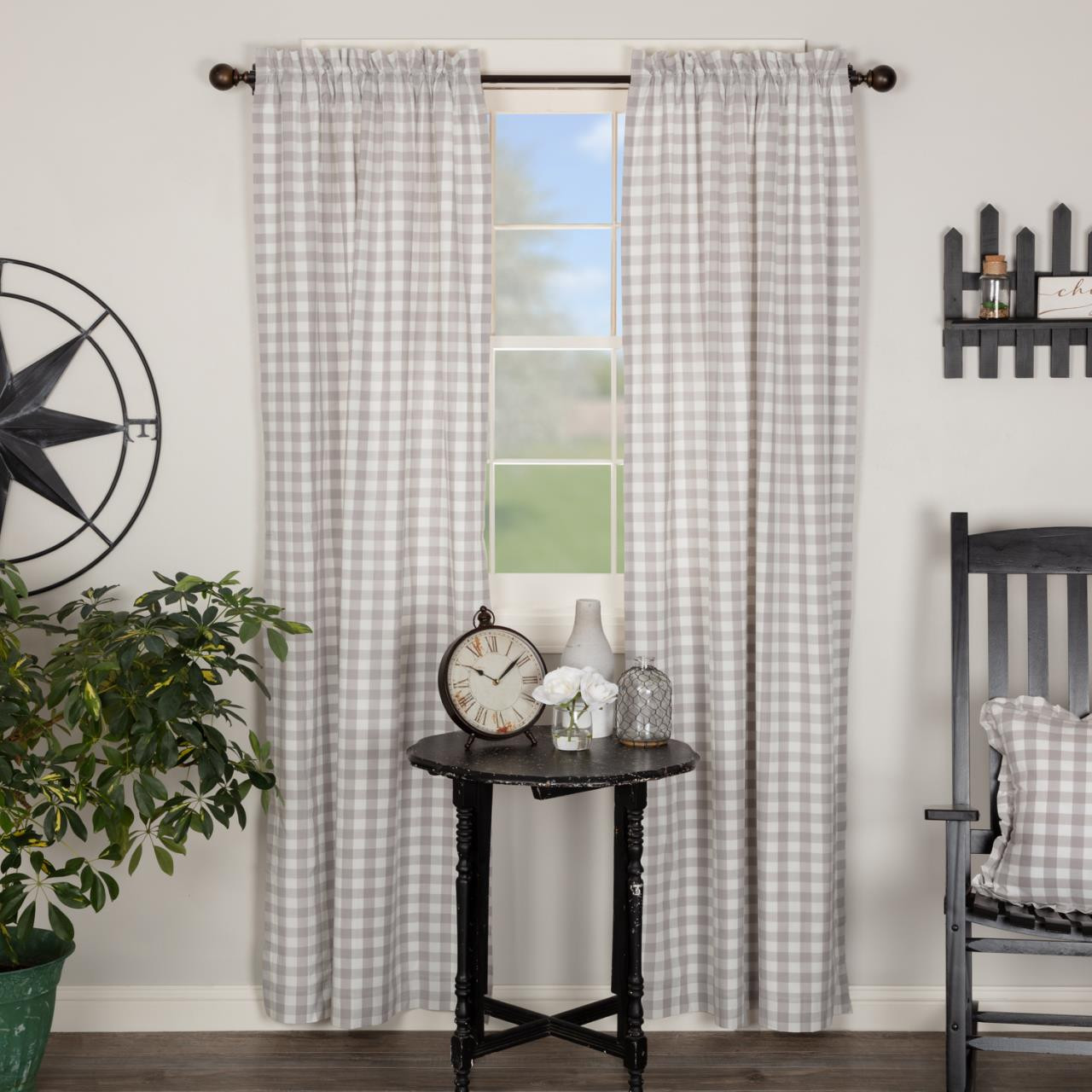 Annie Buffalo Grey Check Curtain Collection -