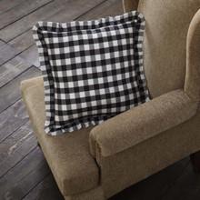 Annie Buffalo Black Check Ruffled Fabric Pillow - 840528164903