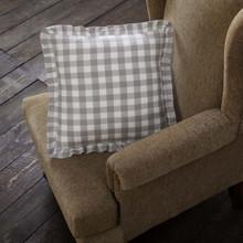 Annie Buffalo Grey Check Ruffled Fabric Pillow - 840528165122
