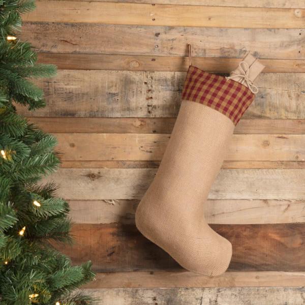 Burgundy Check Jute Stocking - 840528167478
