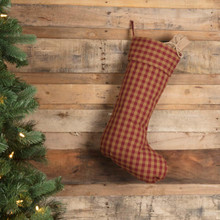 Burgundy Check Stocking - 840528167607