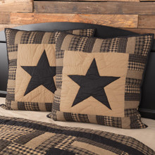 Black Check Star Quilted Euro Sham - 840528173288