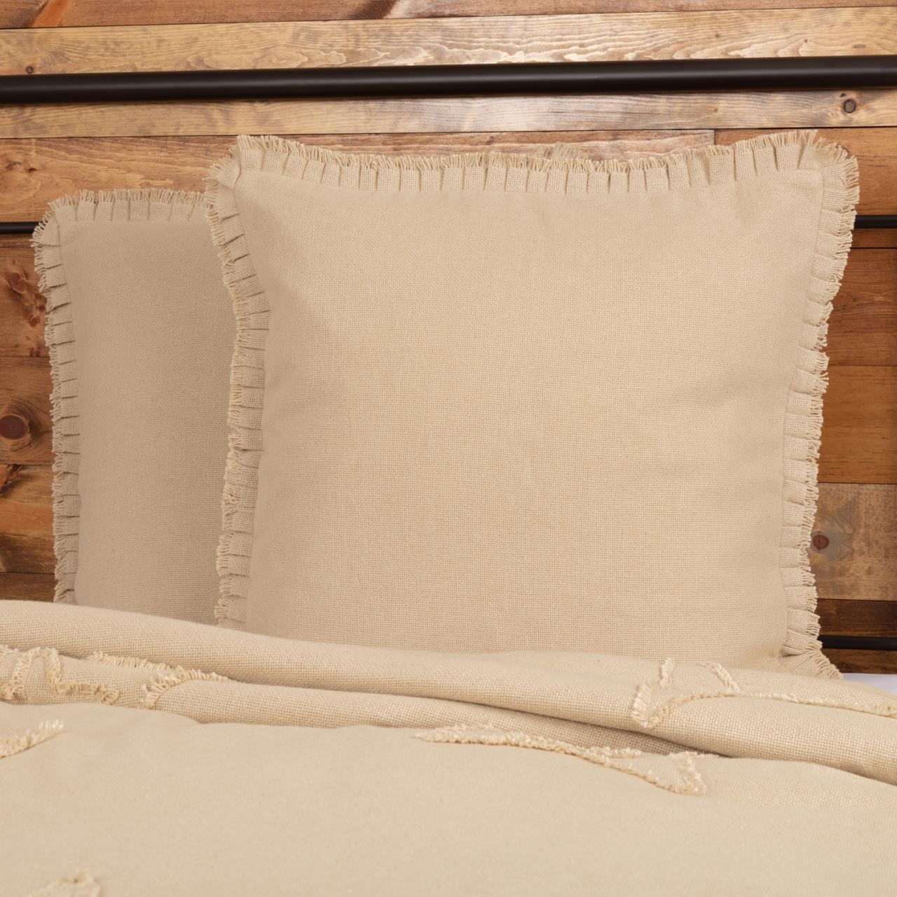 Burlap Vintage Fabric Euro Sham w/ Fringed Ruffle - 840528174537