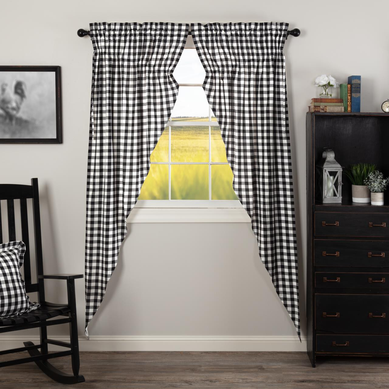 Annie Buffalo Black Check Prairie Long Curtains - 840528178726