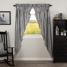 Annie Buffalo Black Check Prairie Long Curtains - 840528178726