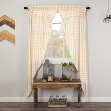 Annie Buffalo Tan Check Prairie Long Curtains - 840528178740