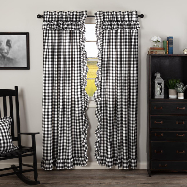 Annie Buffalo Black Check Ruffled Curtains - 840528178771