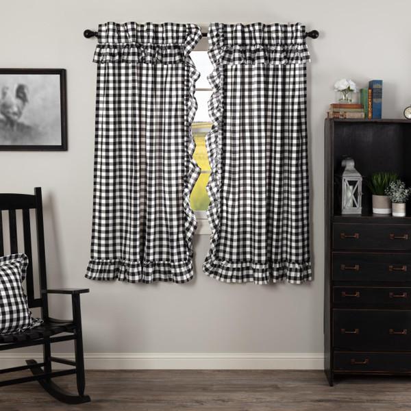 Annie Buffalo Black Check Ruffled Short Curtains - 840528178788