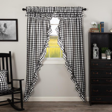 Annie Buffalo Black Check Ruffled Prairie Long Curtains - 840528178795