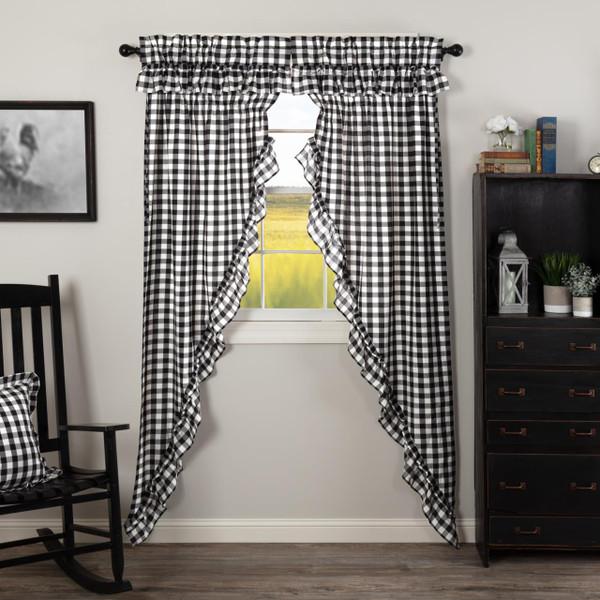 Annie Buffalo Black Check Ruffled Prairie Long Curtains - 840528178795