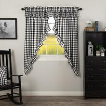 Annie Buffalo Black Check Ruffled Prairie Short Curtains - 840528178801