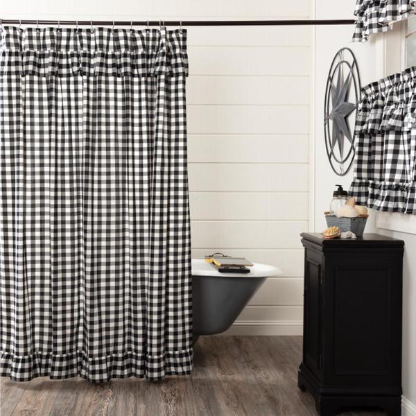 Annie Buffalo Black Check Ruffled Shower Curtain - 840528178832