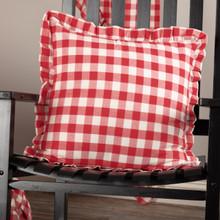 Annie Buffalo Red Check Ruffled Fabric Pillow - 840528178856