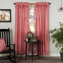 Annie Buffalo Red Check Ruffled Curtains - 840528178863