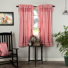 Annie Buffalo Red Check Ruffled Short Curtains - 840528178870