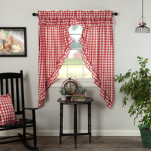 Annie Buffalo Red Check Ruffled Prairie Short Curtains - 840528178894