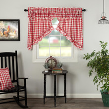 Annie Buffalo Red Check Ruffled Prairie Swag Curtains - 840528178900