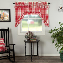 Annie Buffalo Red Check Ruffled Swag Curtains - 840528178917