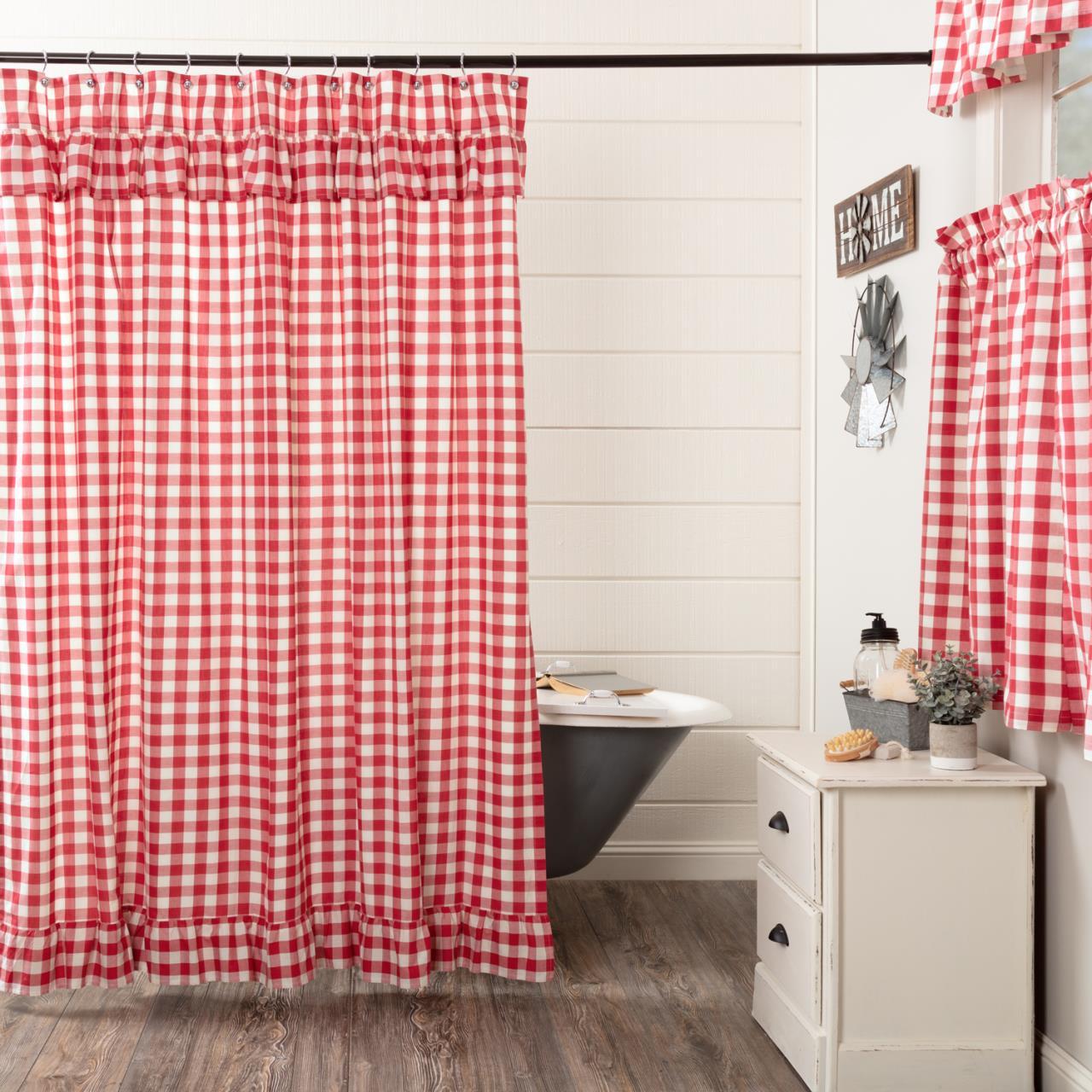 Annie Buffalo Red Check Ruffled Shower Curtain - 840528178924