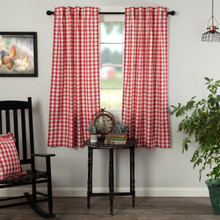 Annie Buffalo Red Check Short Curtains - 840528178955