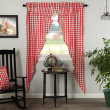 Annie Buffalo Red Check Prairie Long Curtains - 840528178962