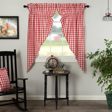 Annie Buffalo Red Check Prairie Short Curtains - 840528178979