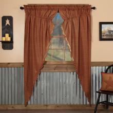 Burgundy Check Scalloped Prairie Long Curtains - 840528179174