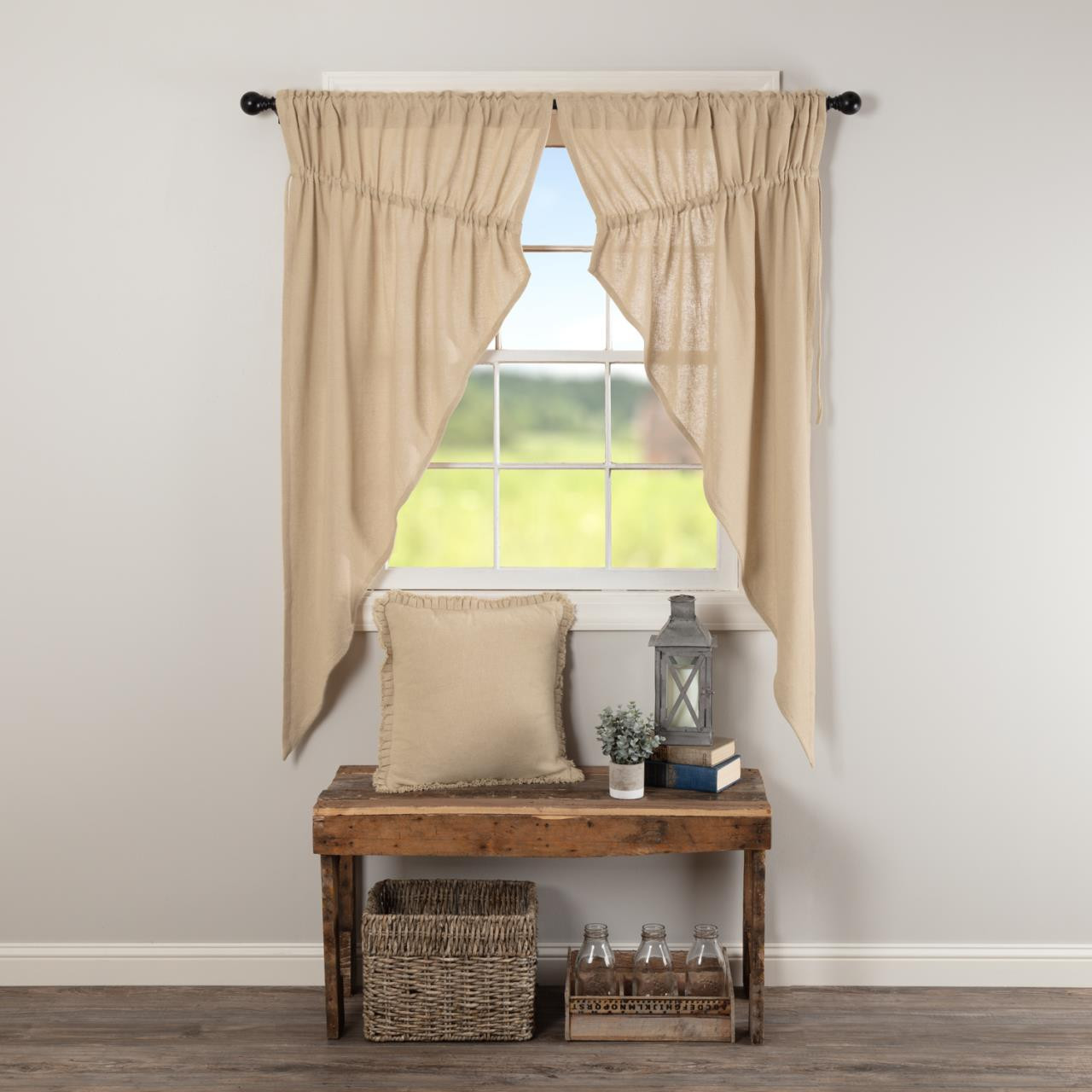 Burlap Vintage Prairie Short Curtains - 840528179556