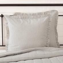 Hatteras Seersucker Blue Ticking Stripe Fabric Euro Sham - 840528179846