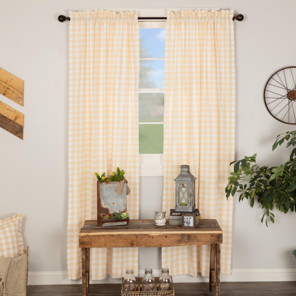 Annie Buffalo Tan Check Curtain Collection -