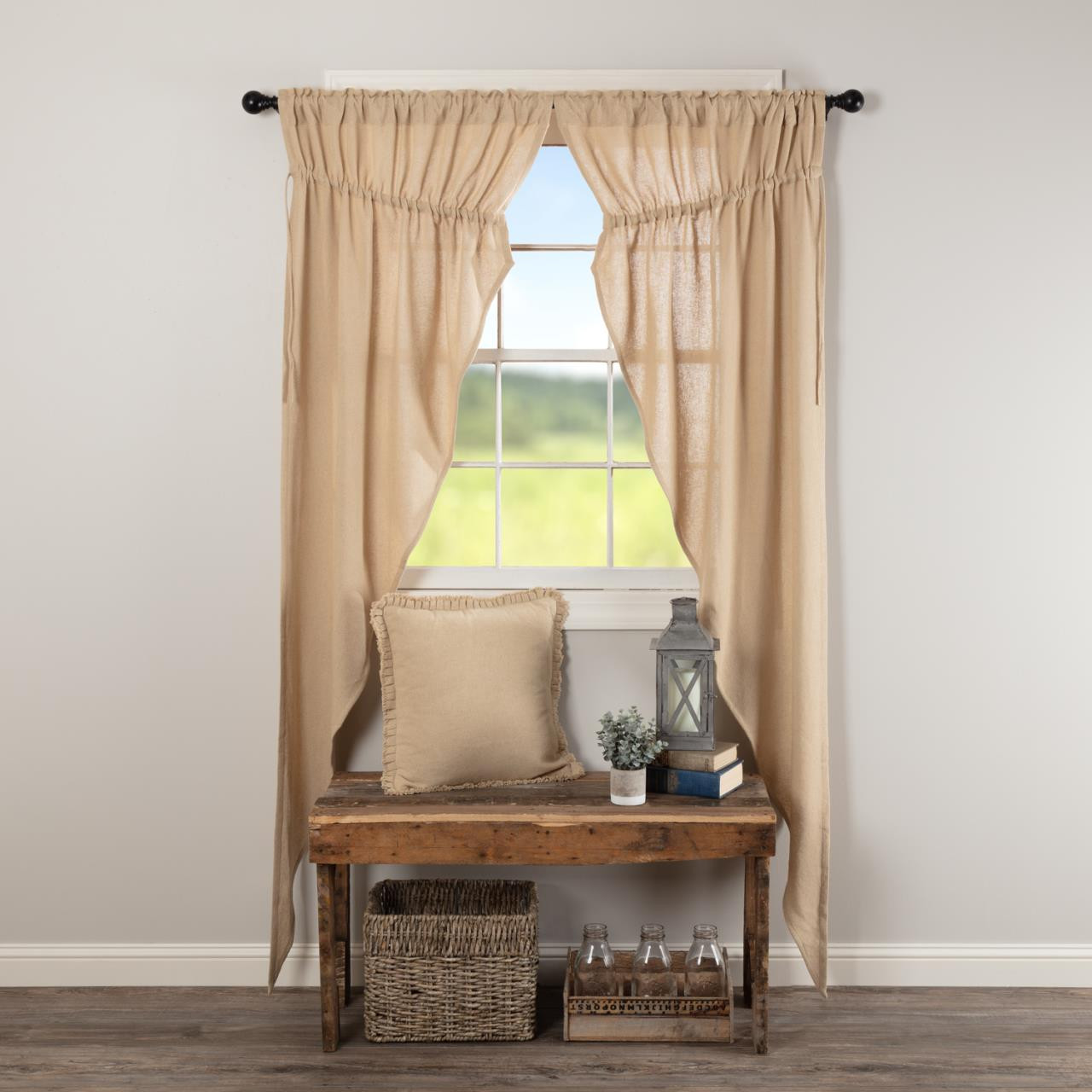 Burlap Vintage Curtain Collection -