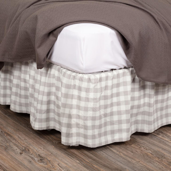 Annie Buffalo Grey Check Bed Skirt - 840528165054