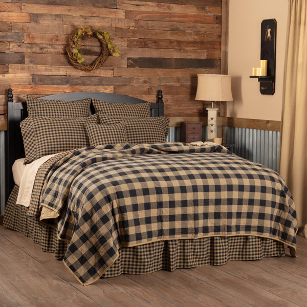 Black Check Quilt Coverlet - 840528167423