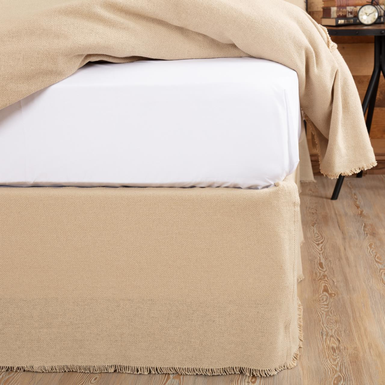 Burlap Vintage Fringed Bed Skirt By Vhc Brands Paul S Home Fashions
