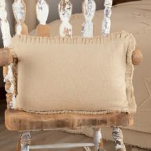 Burlap Vintage Pillow w/ Fringed Ruffle - 840528179495